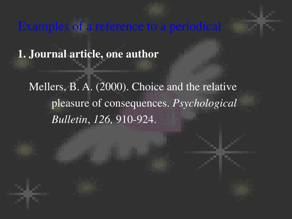 Examples of a reference to a periodical