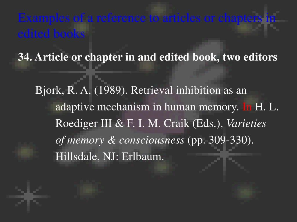 Examples of a reference to articles or chapters in edited books