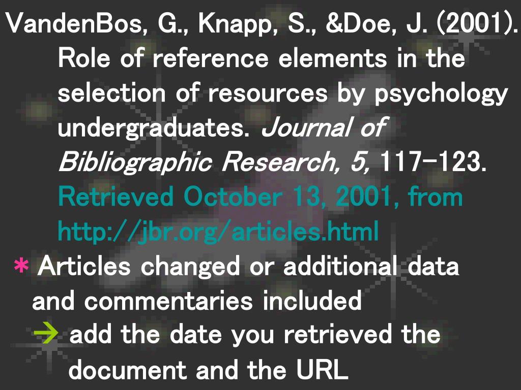 VandenBos, G., Knapp, S., &Doe, J. (2001).