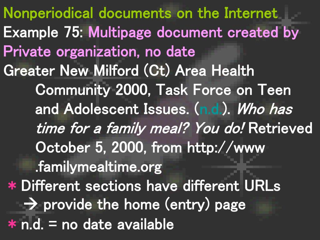 Nonperiodical documents on the Internet
