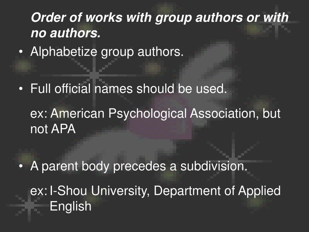 Order of works with group authors or with no authors.