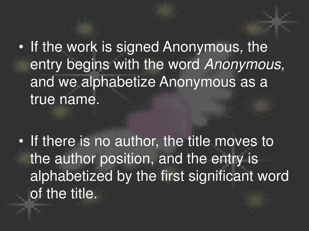 If the work is signed Anonymous
