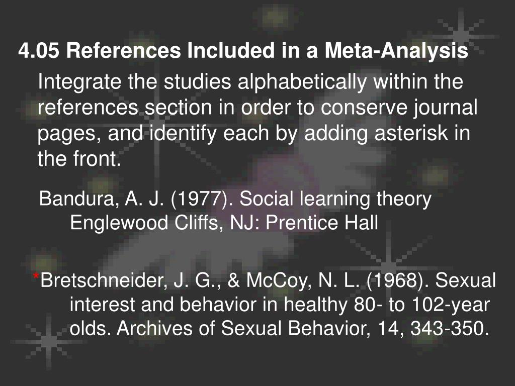 4.05 References Included in a Meta-Analysis