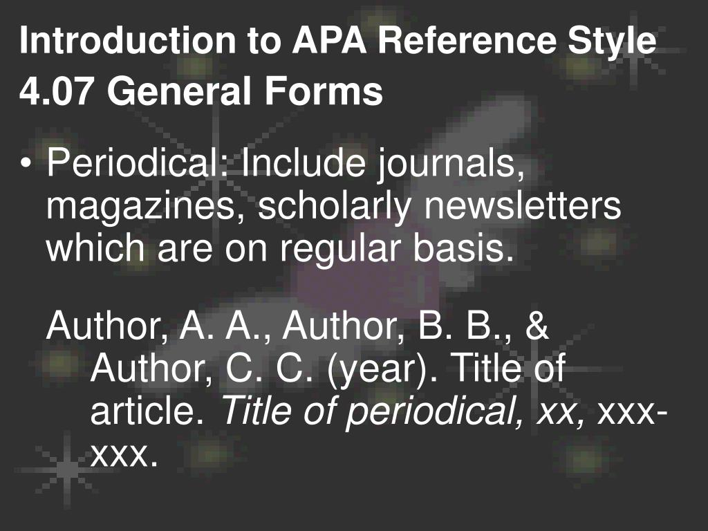 Introduction to APA Reference Style