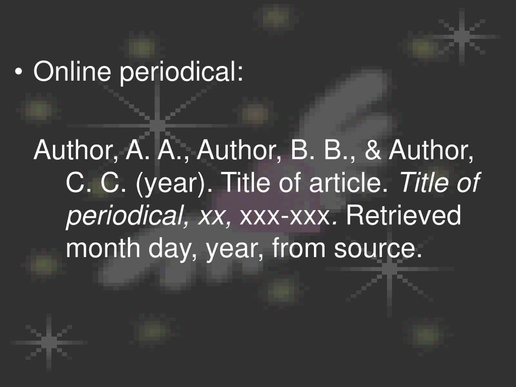 Online periodical: