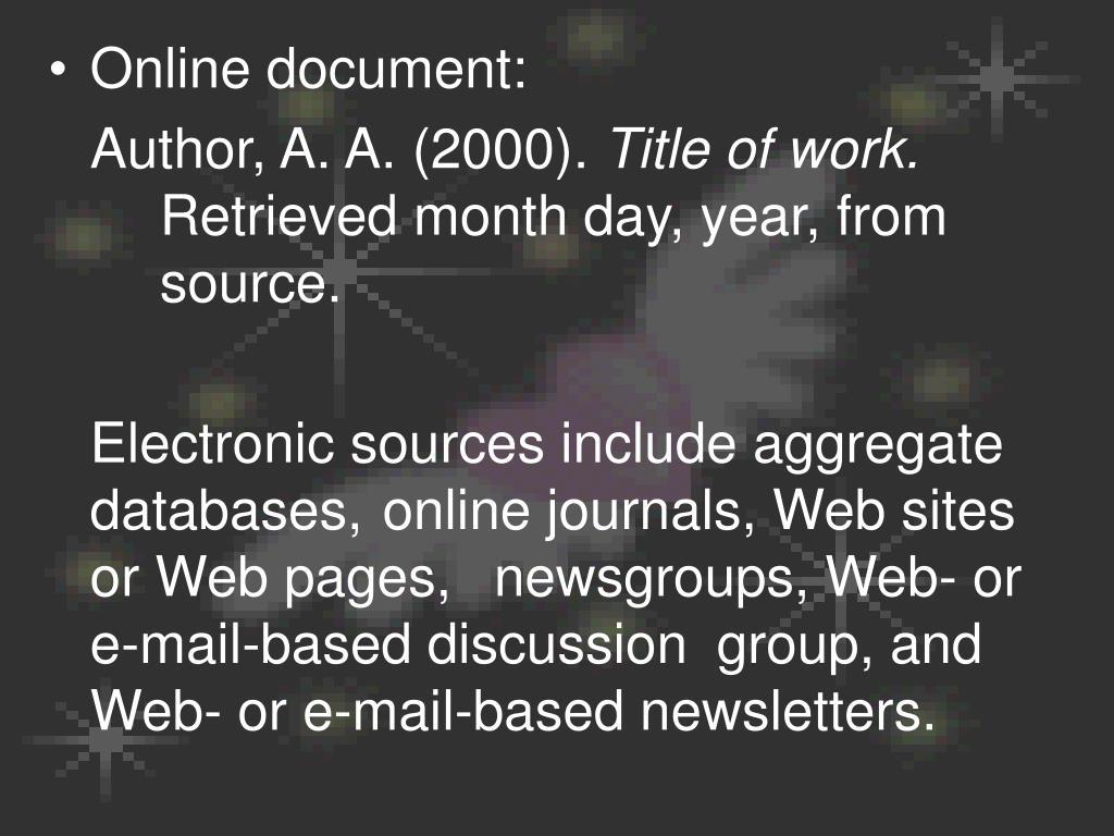 Online document: