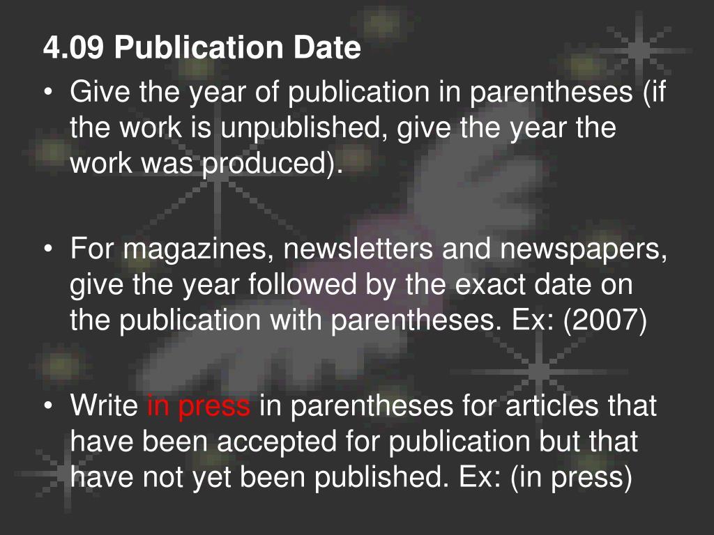 4.09 Publication Date
