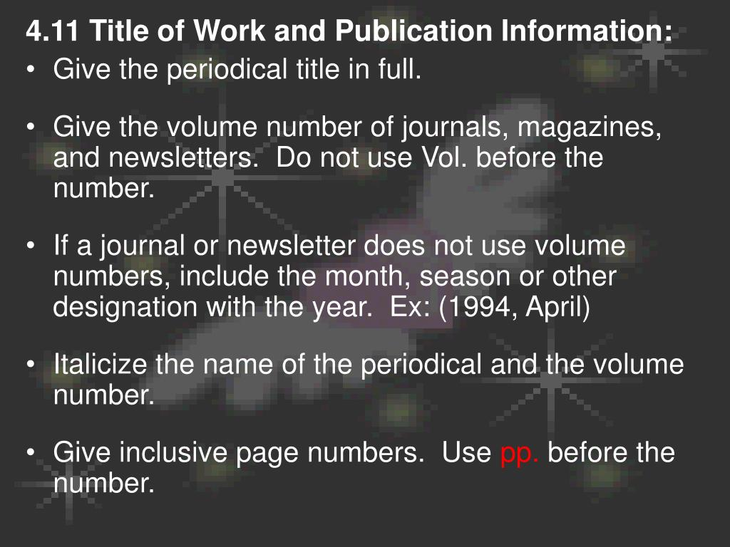 4.11 Title of Work and Publication Information: