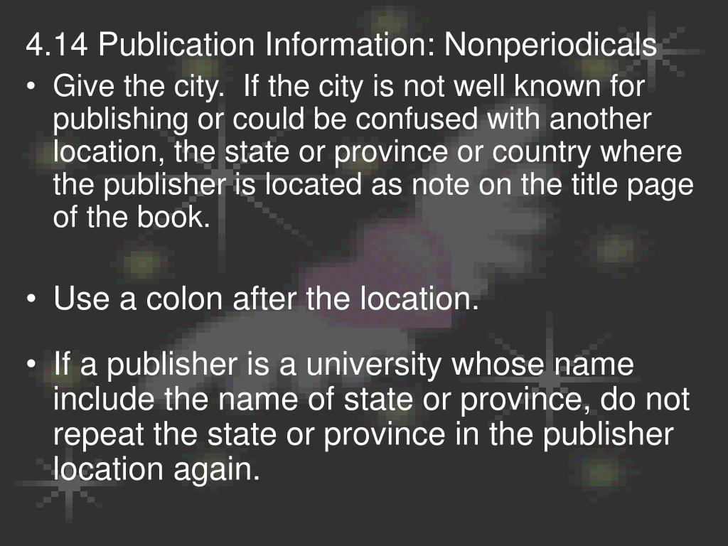 4.14 Publication Information: Nonperiodicals