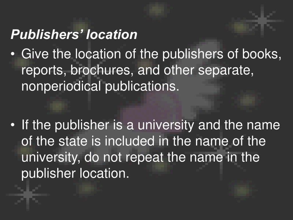 Publishers' location