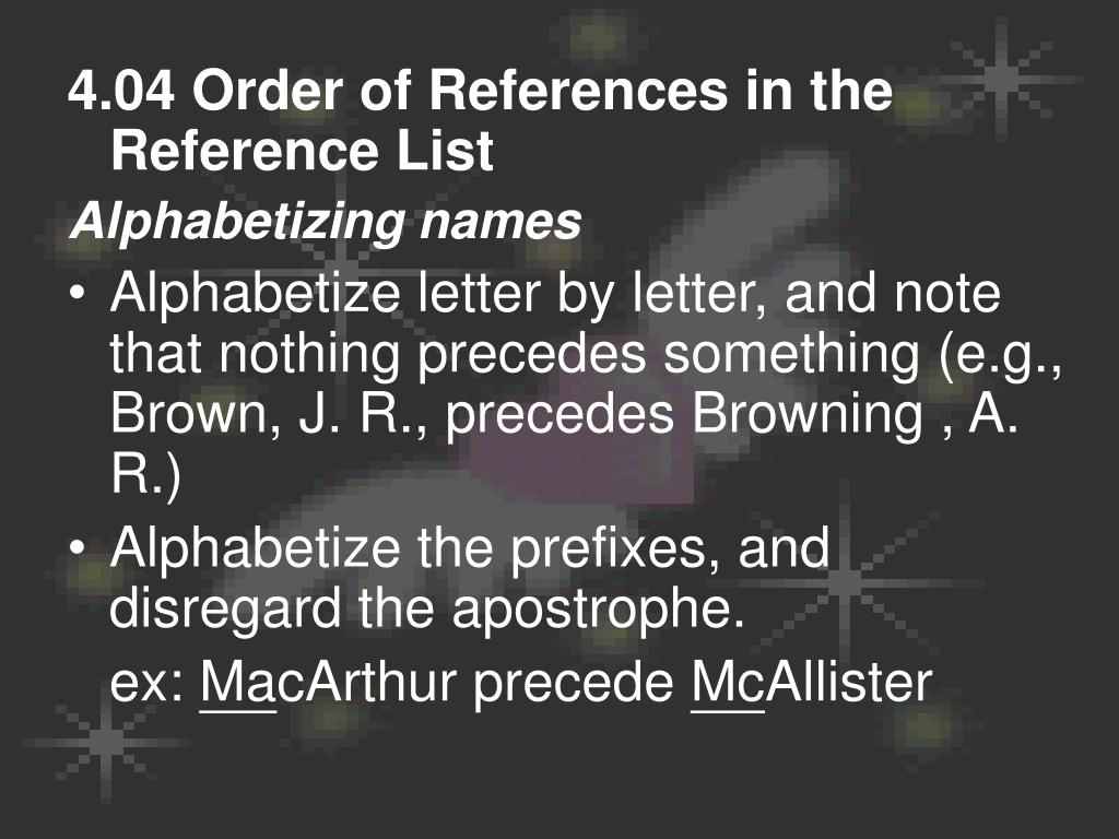 4.04 Order of References in the Reference List