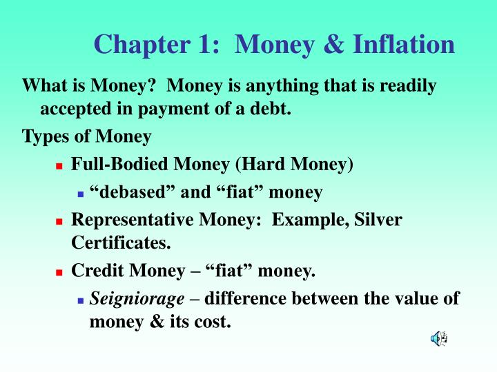 chapter 1 money inflation n.