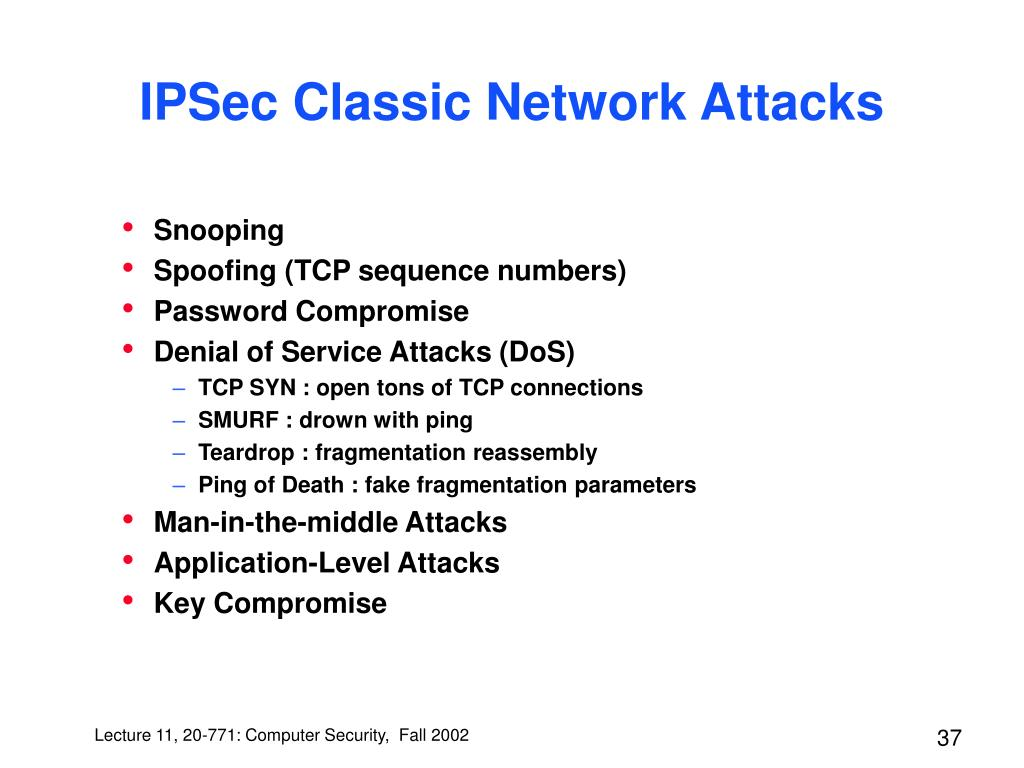 IPSec Classic Network Attacks