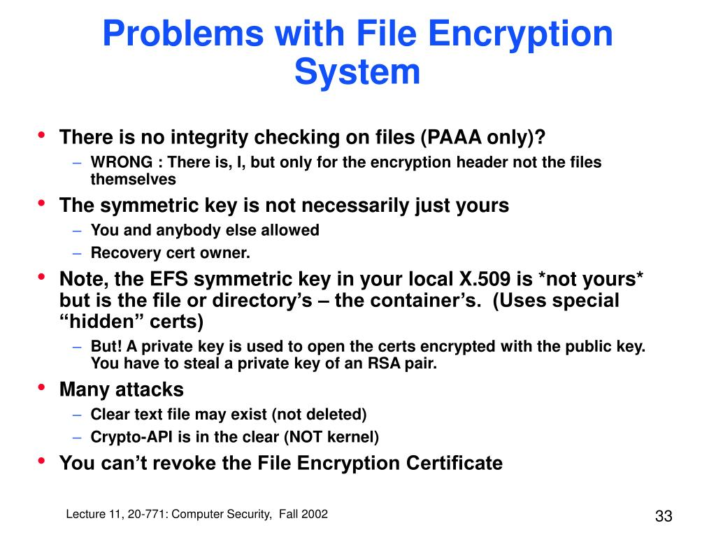 Problems with File Encryption System
