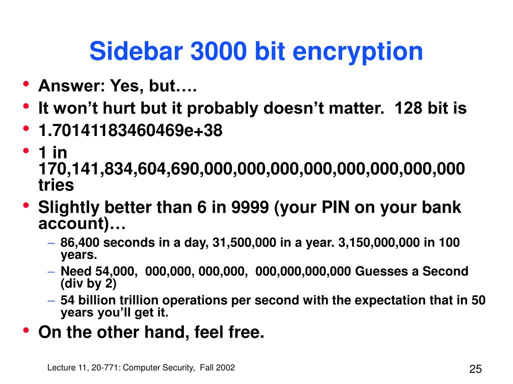 Sidebar 3000 bit encryption