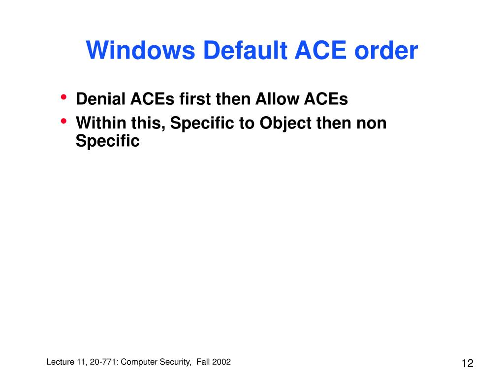 Windows Default ACE order
