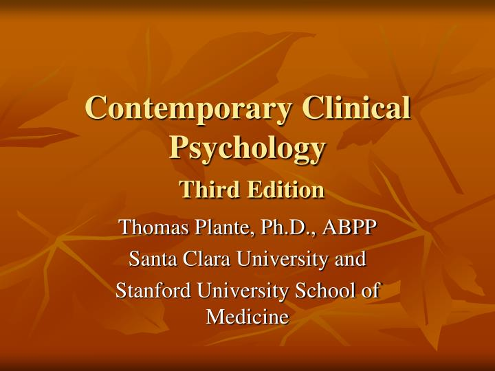 contemporary clinical psychology third edition n.