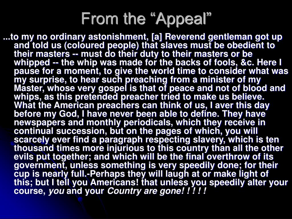 """From the """"Appeal"""""""