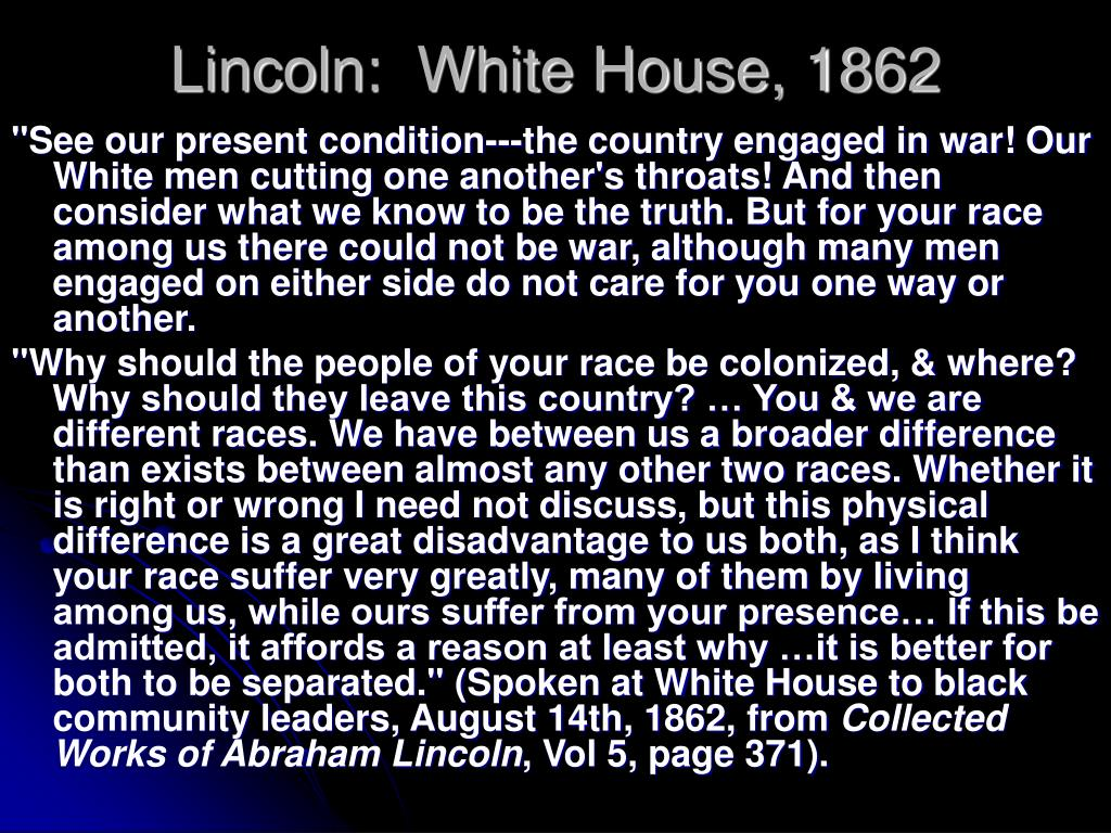 Lincoln:  White House, 1862