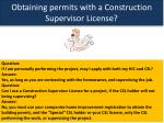 obtaining permits with a construction supervisor license