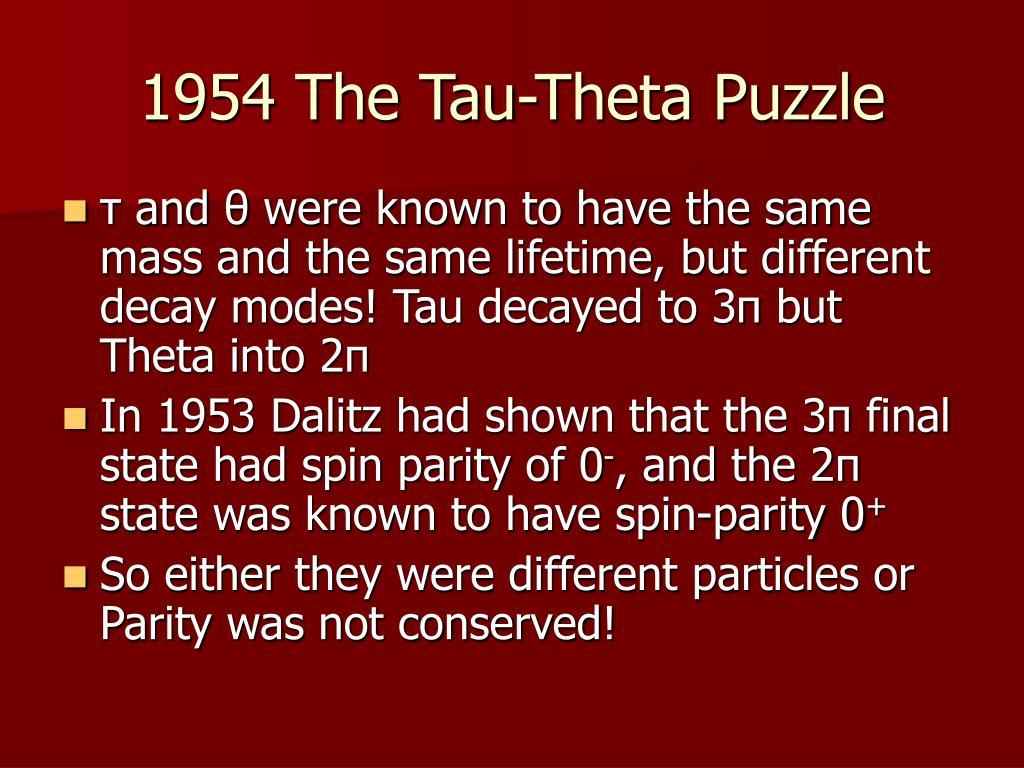 1954 The Tau-Theta Puzzle