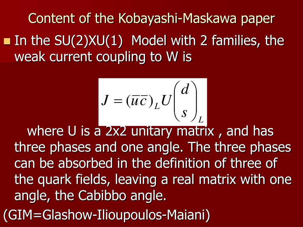 Content of the Kobayashi-Maskawa paper