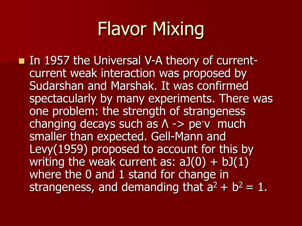 Flavor Mixing