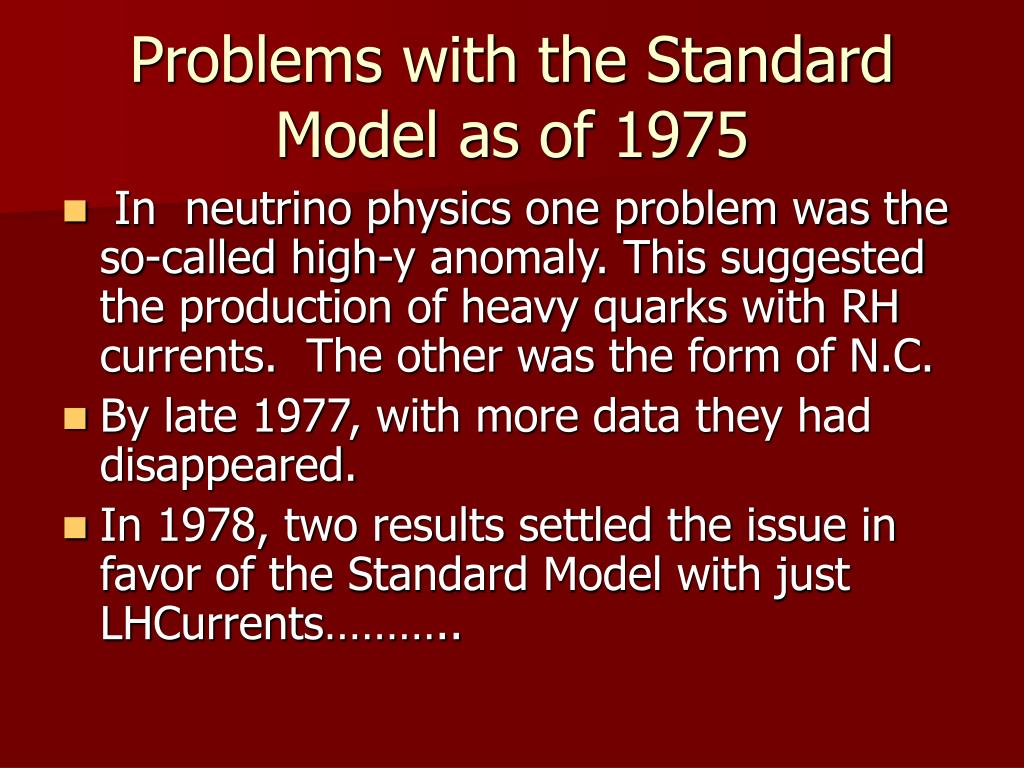 Problems with the Standard Model as of 1975