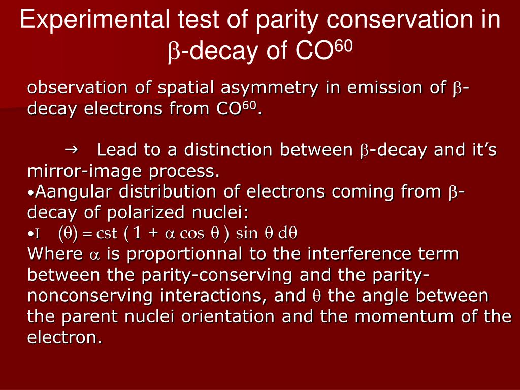 Experimental test of parity conservation in