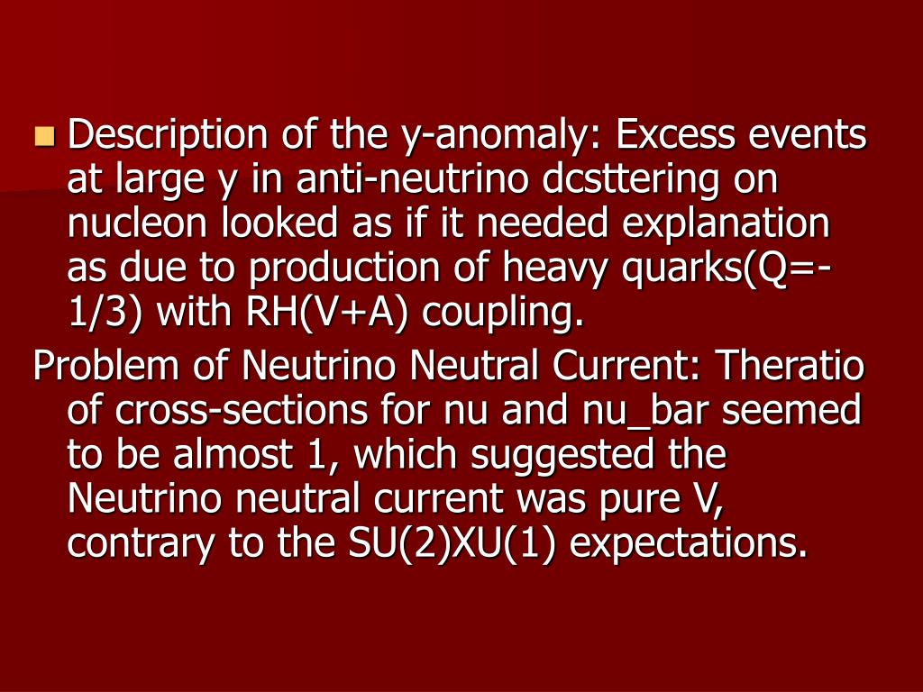 Description of the y-anomaly: Excess events at large y in anti-neutrino dcsttering on nucleon looked as if it needed explanation as due to production of heavy quarks(Q=-1/3) with RH(V+A) coupling.