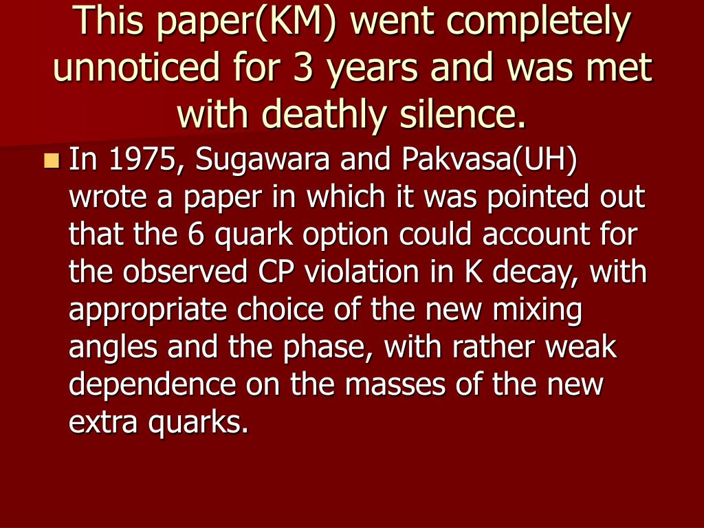 This paper(KM) went completely unnoticed for 3 years and was met with deathly silence.