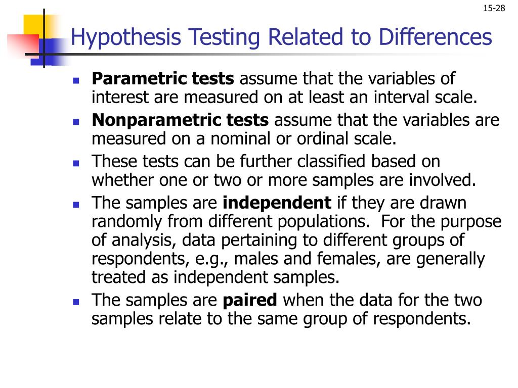 Hypothesis Testing Related to Differences