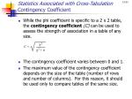 statistics associated with cross tabulation contingency coefficient