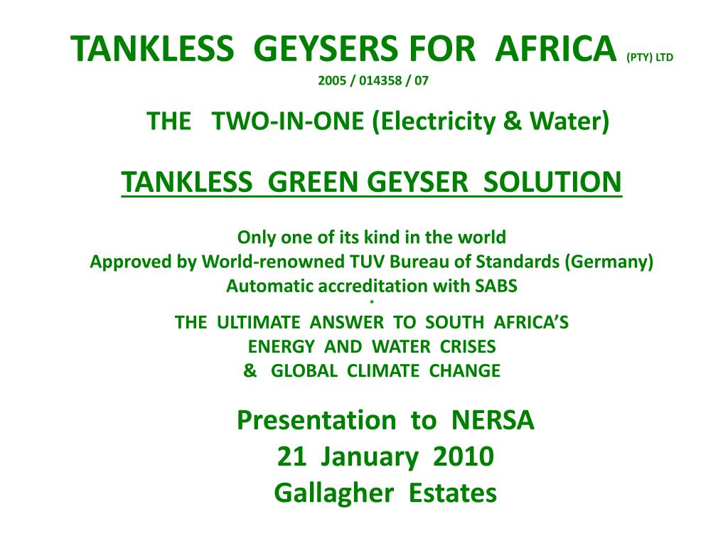presentation to nersa 21 january 2010 gallagher estates l.
