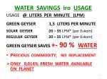 water savings iro usage