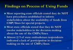 findings on process of using funds