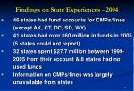 findings on state experiences 20048