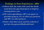 findings on state experiences 20049