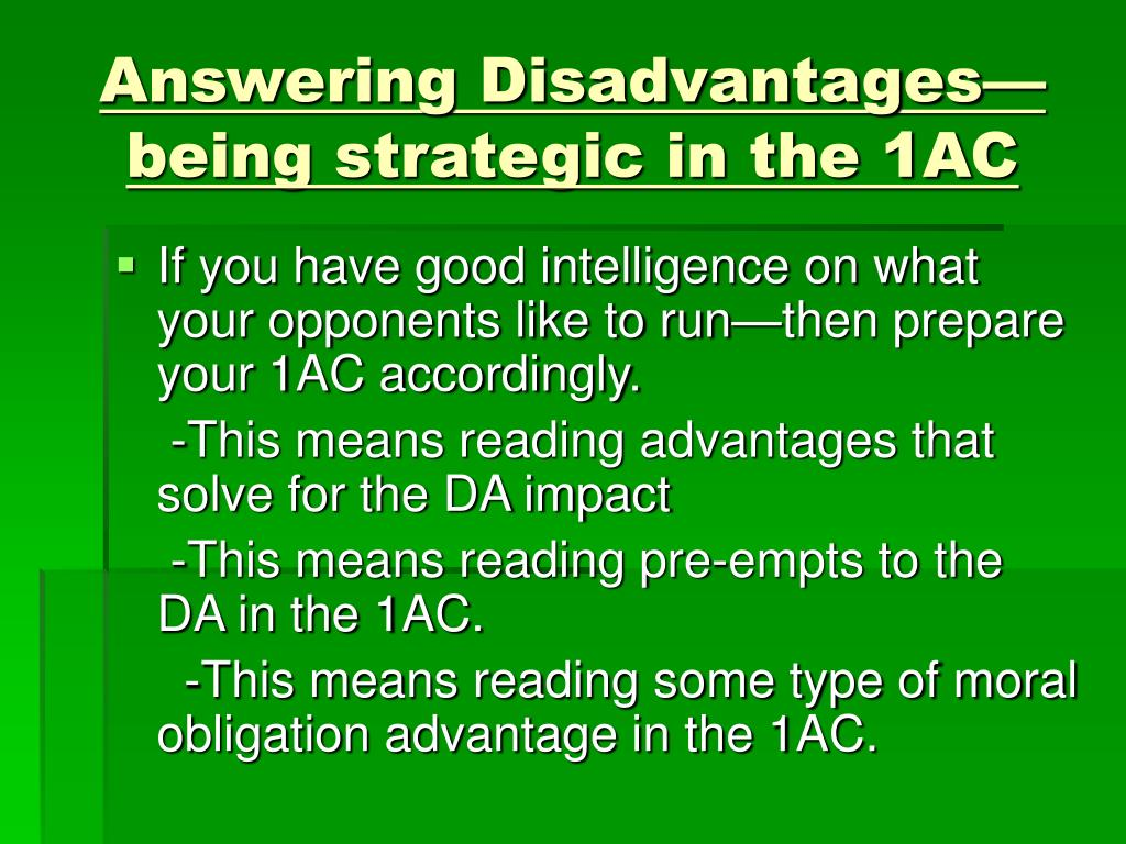 Answering Disadvantages—being strategic in the 1AC