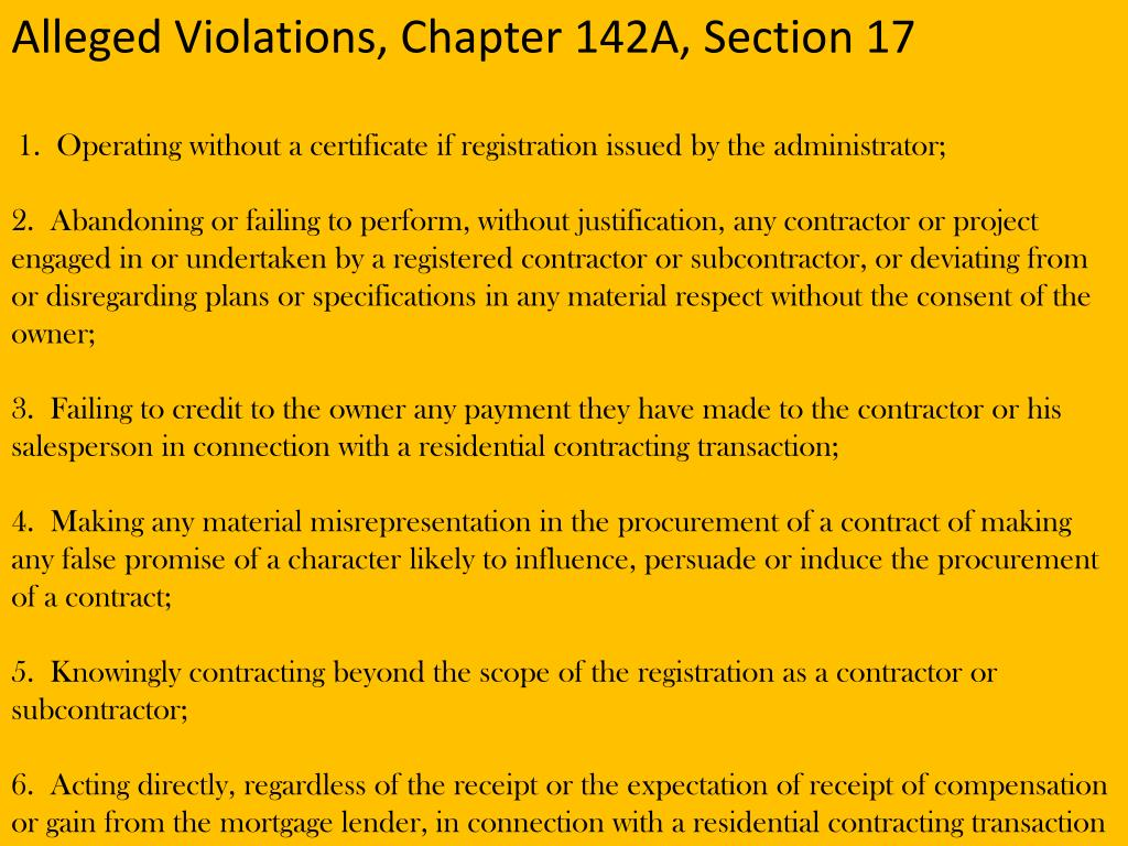 Alleged Violations, Chapter 142A, Section 17
