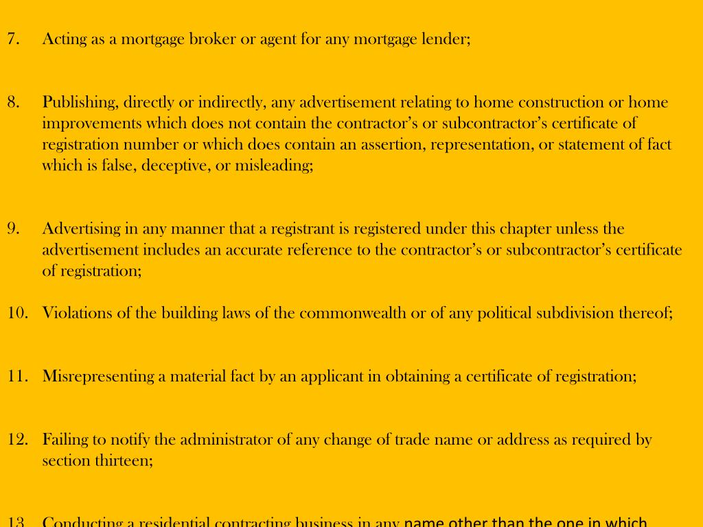 Acting as a mortgage broker or agent for any mortgage lender;