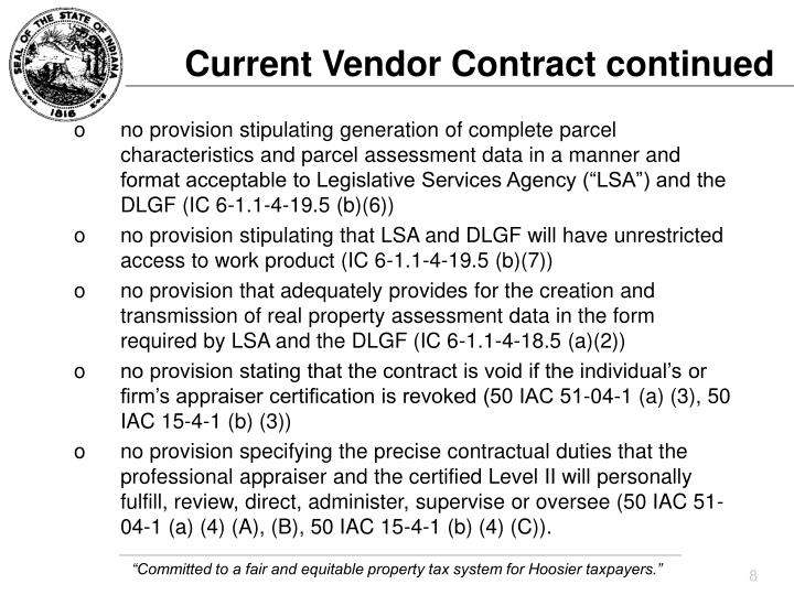 Current Vendor Contract continued