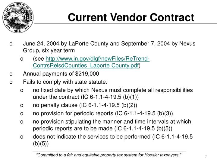 Current Vendor Contract
