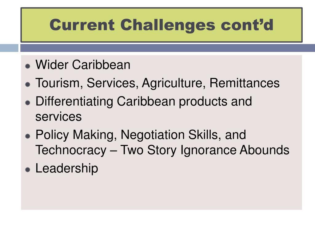 Current Challenges cont'd