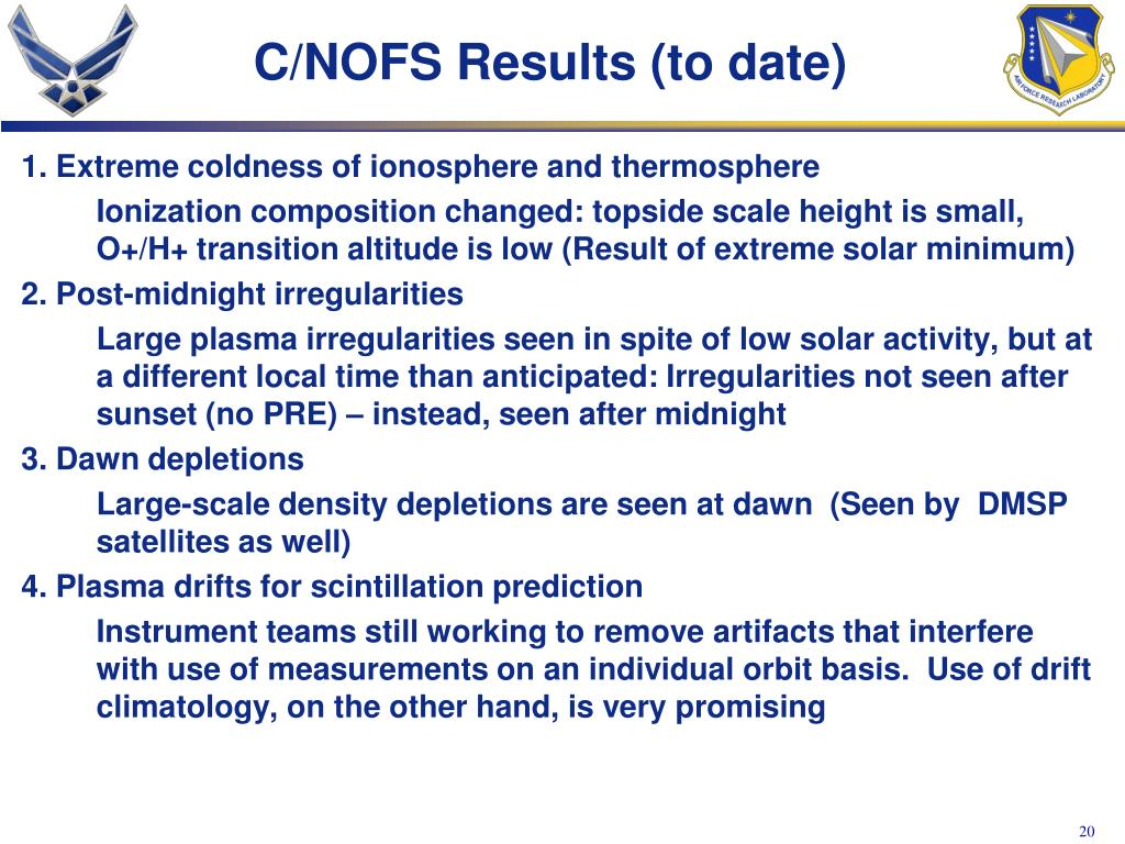 C/NOFS Results (to date)