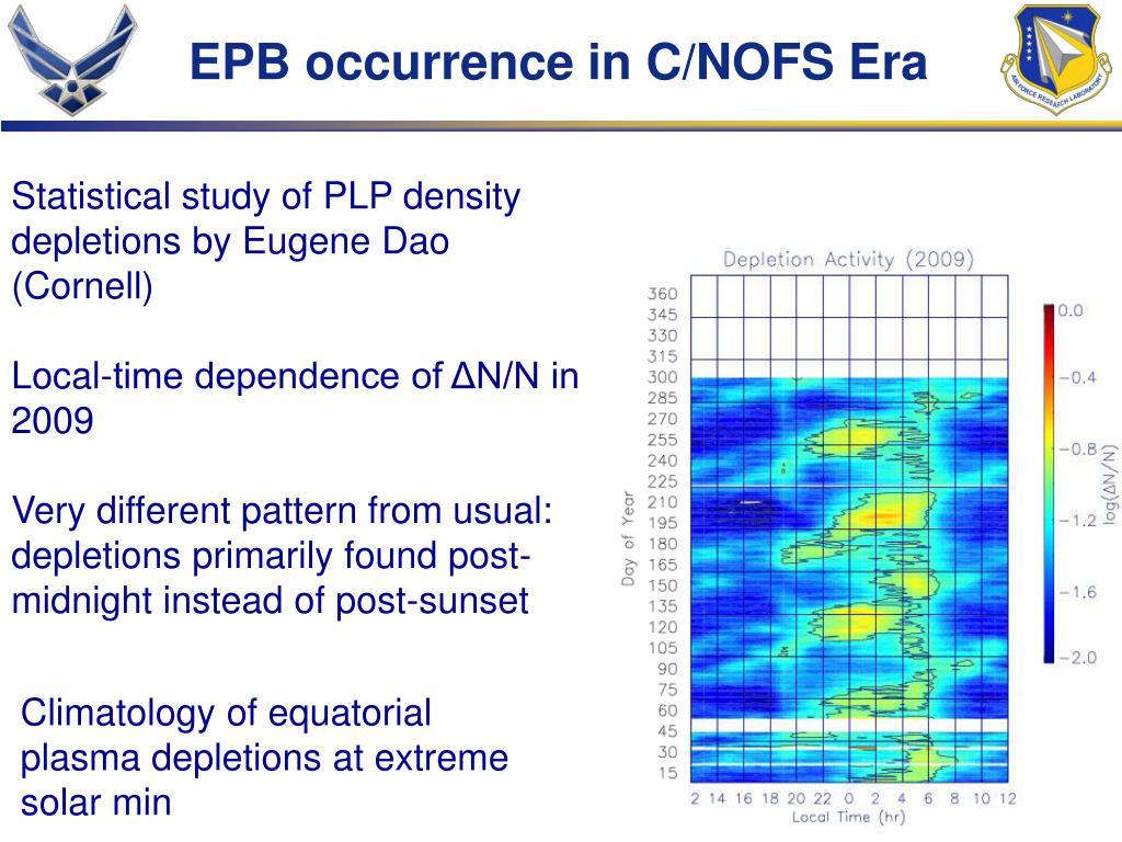 EPB occurrence in C/NOFS Era
