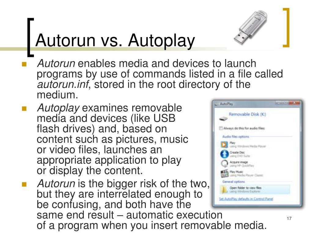 Autorun vs. Autoplay