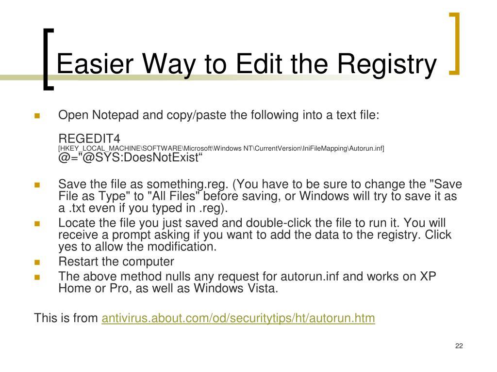 Easier Way to Edit the Registry