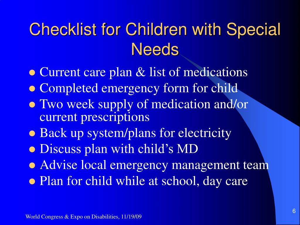 Checklist for Children with Special Needs