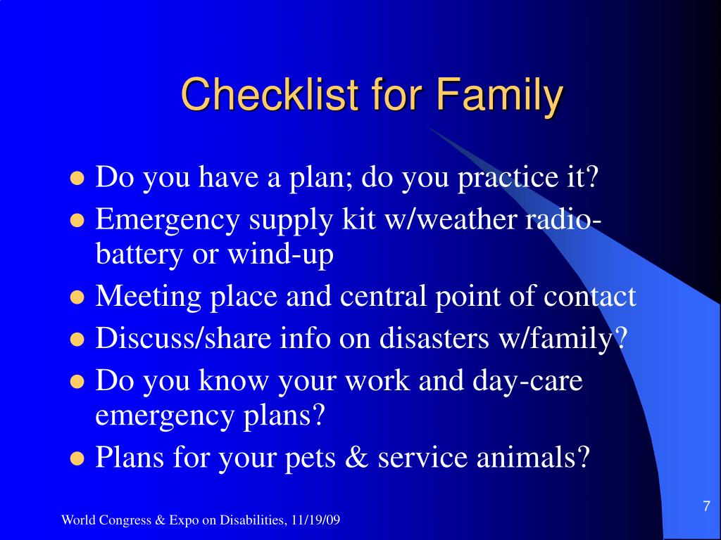 Checklist for Family